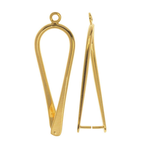 Pinch Bail for Pendants, Upside Down Teardrop 32.5mm, 4 Pieces, Gold Plated