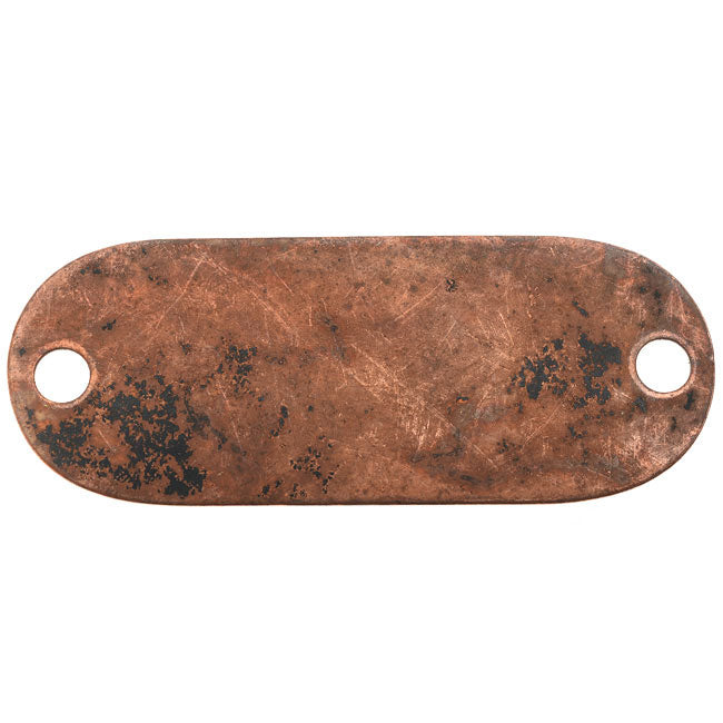 Vintaj Artisan Copper, Oval Connector Blank 24 Gauge Thick 46x18mm, 1 Piece