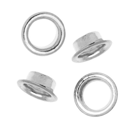 Silver Plated Round Grommets - Fits 5mm Bead Holes (100)