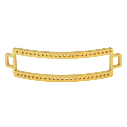 Centerline Beadable Connector Link, Curved Rectangle with Cutout and Holes 47x13mm,  Gold Plate