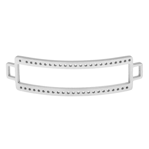 Centerline Beadable Connector Link, Curved Rectangle with Cutout and Holes 47x13mm,  Silver Plated