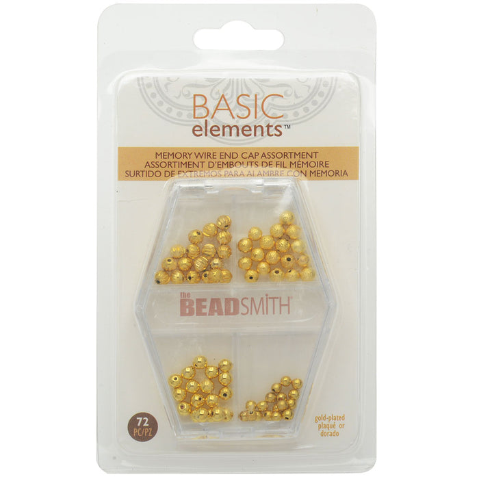 End Cap Beads for Memory Wire, Round Glue In 3 & 4mm Diameter, 72 Pieces, Gold Plated