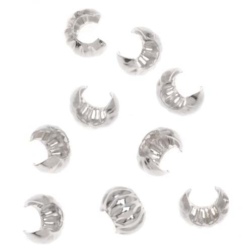 Sterling Silver Corrugated Crimp Bead Covers 3mm (10)