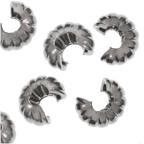 Gun Metal Brass Fluted Crimp Bead Covers 4mm (144)