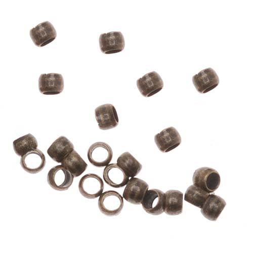 Economy Barrel Crimp Beads 2x1.5mm Antiqued Brass (50)