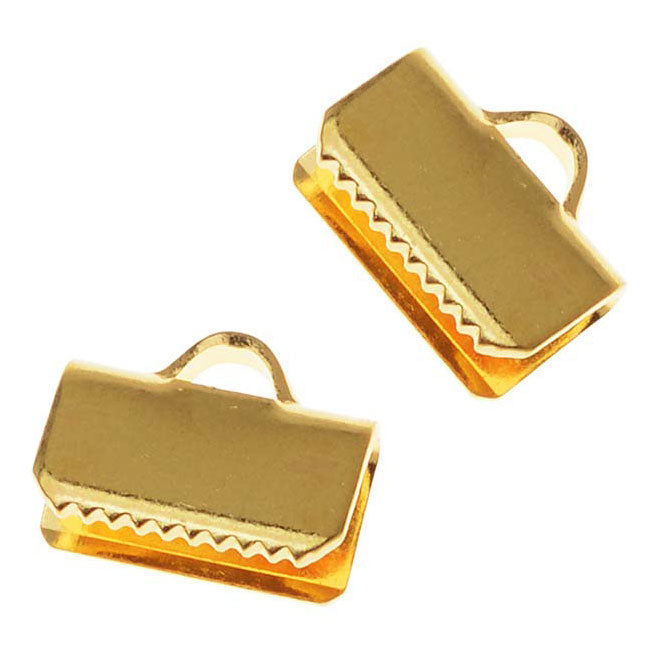 22K Gold Plated Ribbon Pinch Crimps Cord Ends 10mm or 3/8 IN. (20)