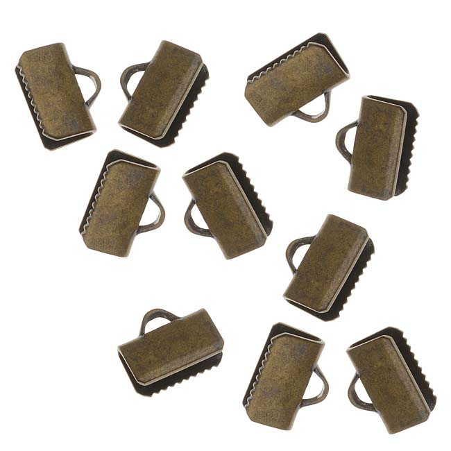Cord Ends, Ribbon Pinch Crimps 3/8In., 20 Pieces, Antiqued Brass