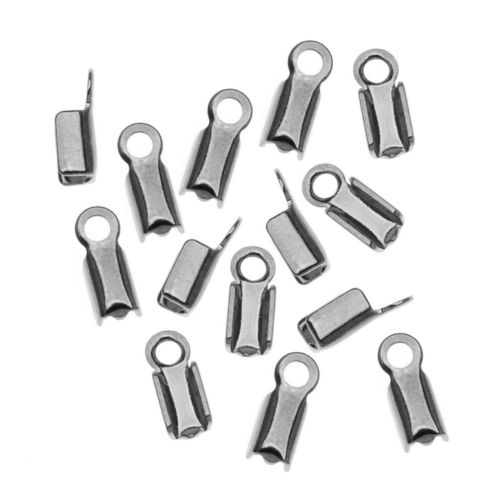 Gun Metal Brass Foldover 3mm Cord Ends For Leather (X50)