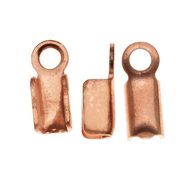 Real Copper Foldover 3mm Cord Ends For Leather (x50)