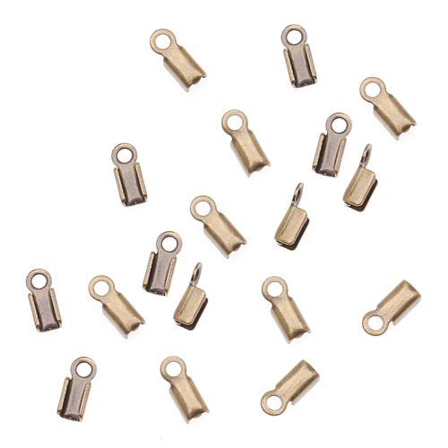 Cord Ends, Foldover for Leather 3mm, 50 Pieces, Antiqued Brass