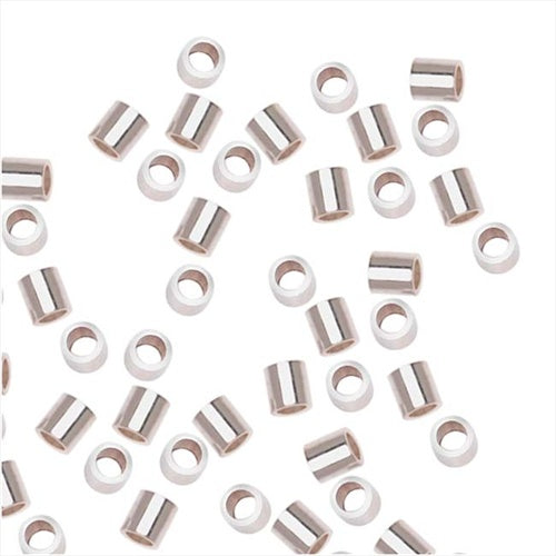 Silver Filled Anti Tarnish Tube Crimp Beads 2 x 2mm (50)