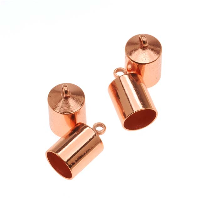 The Beadsmith Cord Ends, Barrel with Ring 12mm, Fits 6.5mm Cord, 4 Pieces, Copper Plated