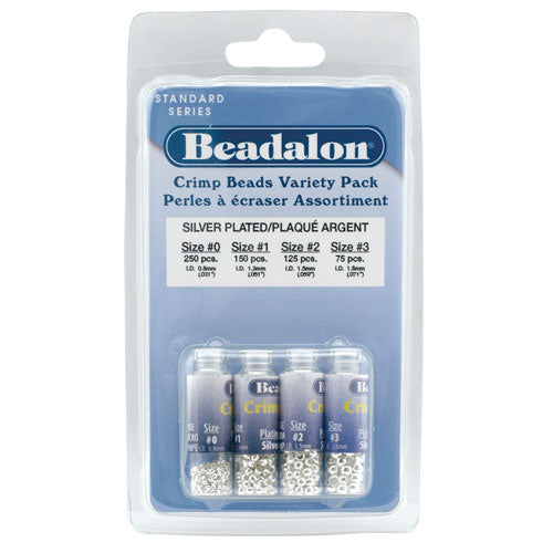 Beadalon Silver Plated Crimp Beads 4 Sizes Mix (600 Beads Total)
