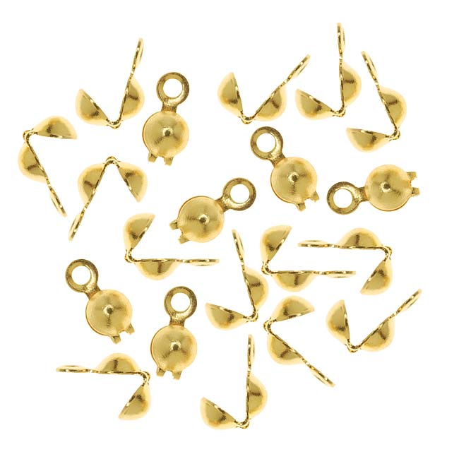 Brass Clamshells Knot Covers With Closed Loop 3.7mm (50)