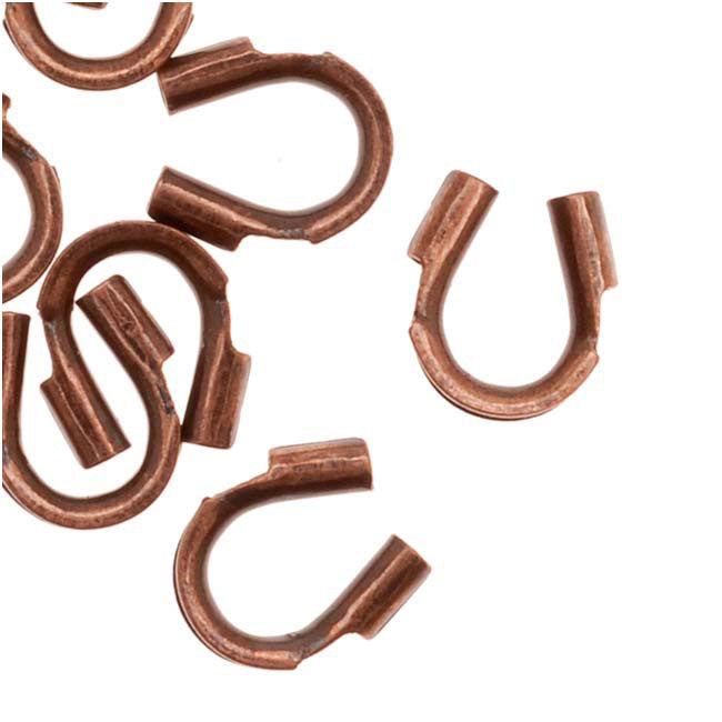 Genuine Antiqued Copper Wire & Thread Protectors .019 Inch Loops (50)