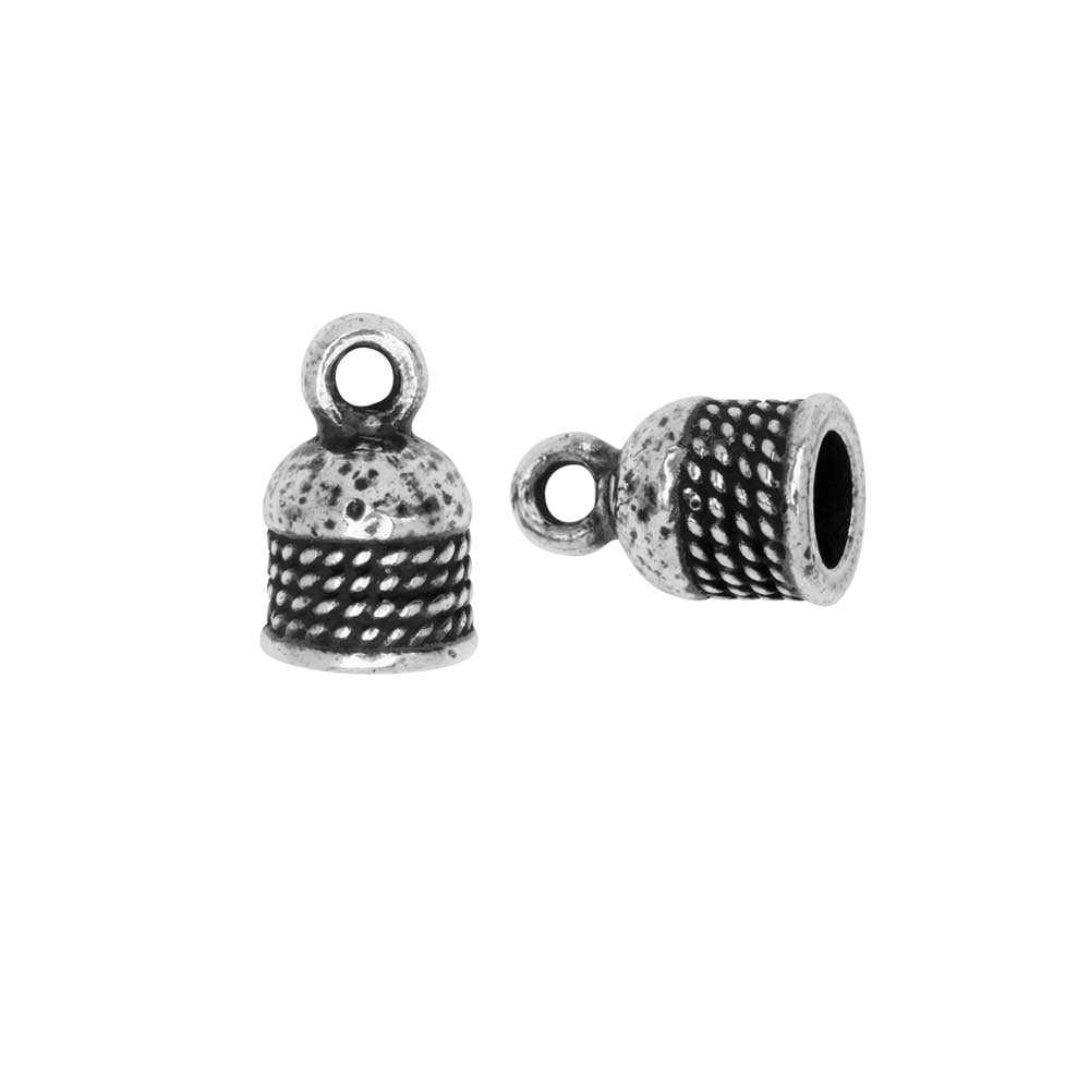 Cord End, Roped Dome 12.5mm, Fits 5mm Cord, Antiqued Silver, 2 Pieces, By TierraCast