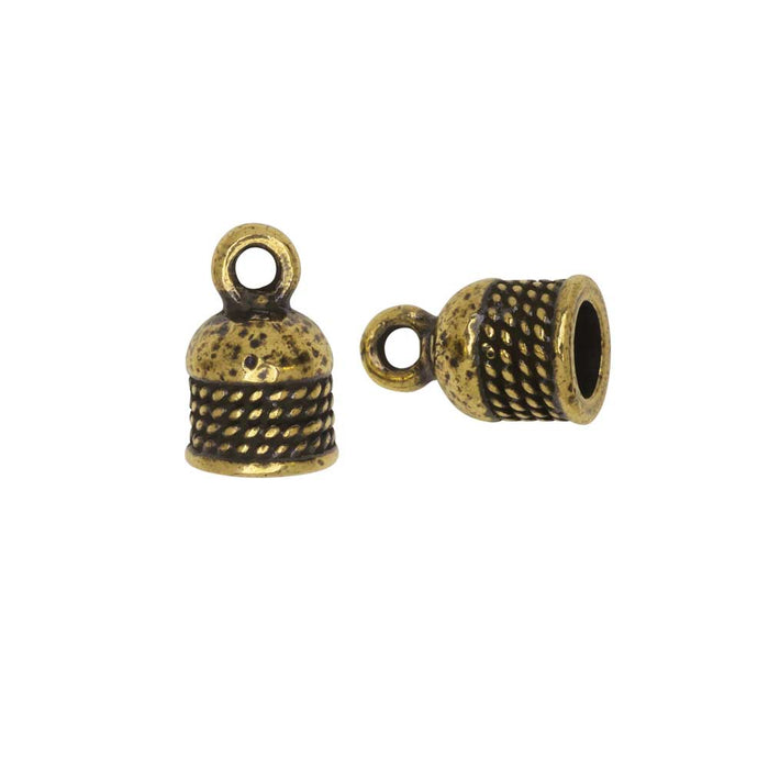 Cord End, Roped Dome 12.5mm, Fits 5mm Cord, Antiqued Gold, 2 Pieces, By TierraCast