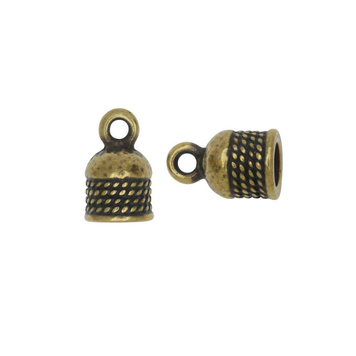 Cord End, Roped Dome 12.5mm, Fits 5mm Cord, Brass Oxide Finish, 2 Pieces, By TierraCast