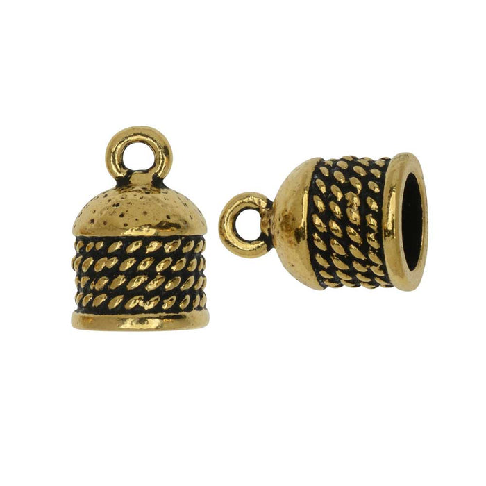 Cord End, Roped Dome 16mm, Fits 8mm Cord, Antiqued Gold, 2 Pieces, By TierraCast
