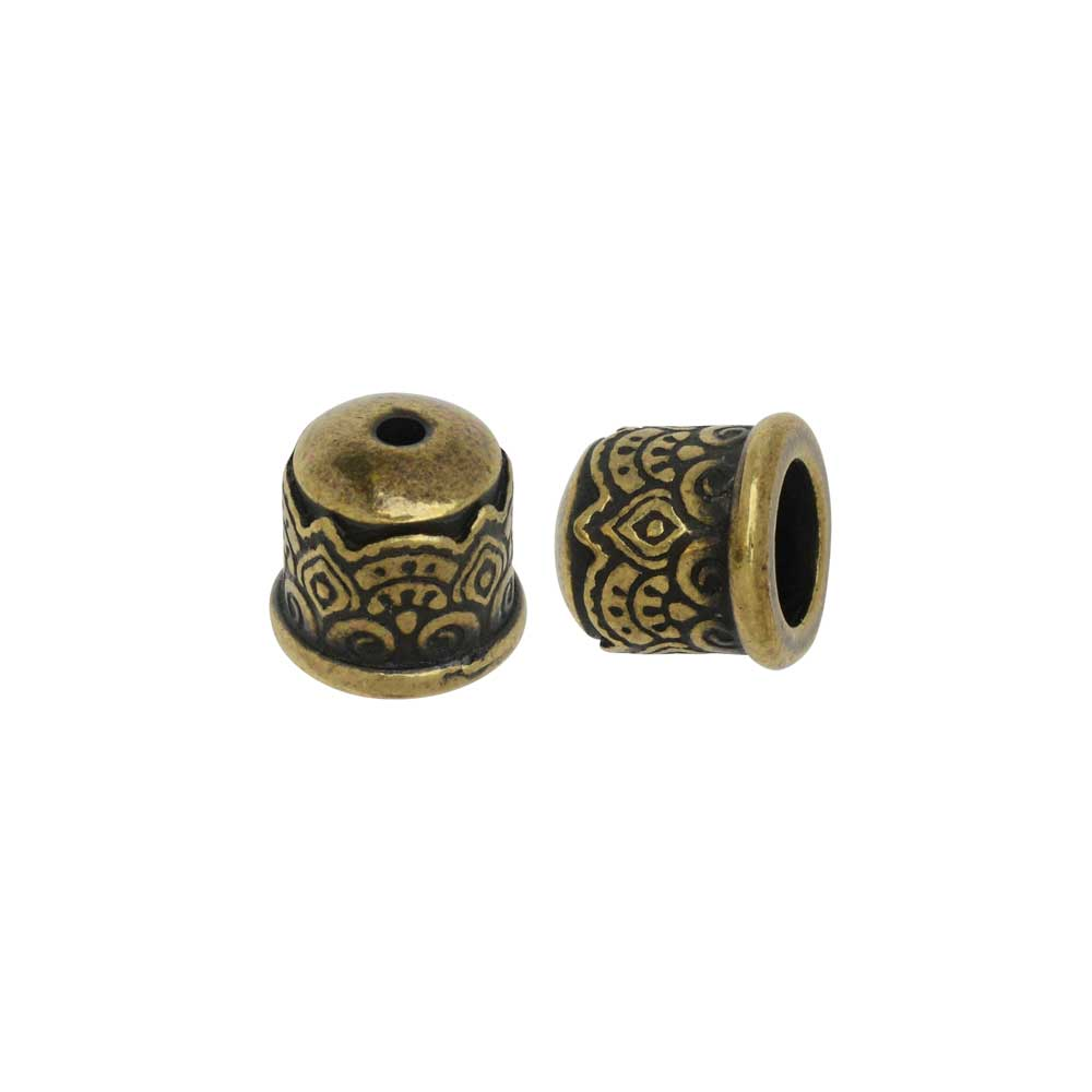 Cord End, Temple Dome 9mm, Fits 6mm Cord, Brass Oxide Finish, 2 Pieces, By TierraCast