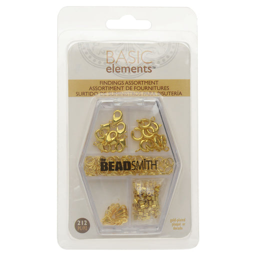 Basic Elements Findings Assortment, Lobster Clasps, Spring Rings, Jump Rings, Tags, & Crimp Beads, 212 Pcs, Gold Plated