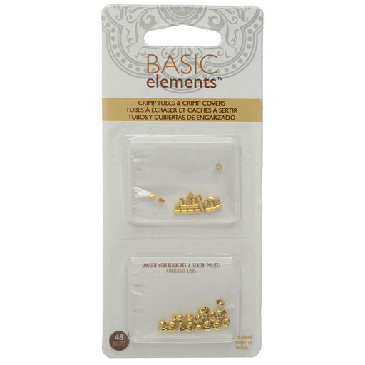 Basic Elements Crimp Tube Beads & Smooth Crimp Covers, 2x2mm and 3mm, 48 Pieces, Gold Plated
