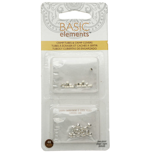 Basic Elements Crimp Tube Beads & Smooth Crimp Covers, 2x2mm and 3mm, 48 Pieces, Silver Plated