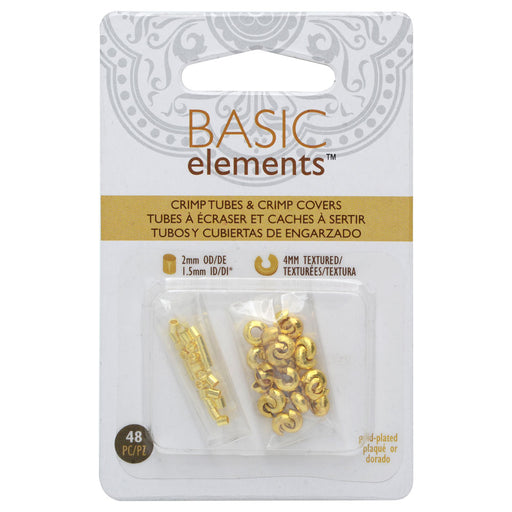 Basic Elements Crimp Tube Beads & Stardust Crimp Covers, 2x2mm and 4mm, 48 Pieces, Gold Plated