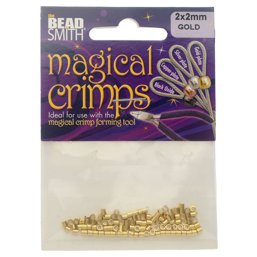The Beadsmith Magical Crimp Tube Beads, 2x2mm, 100 Pieces, Gold Plated