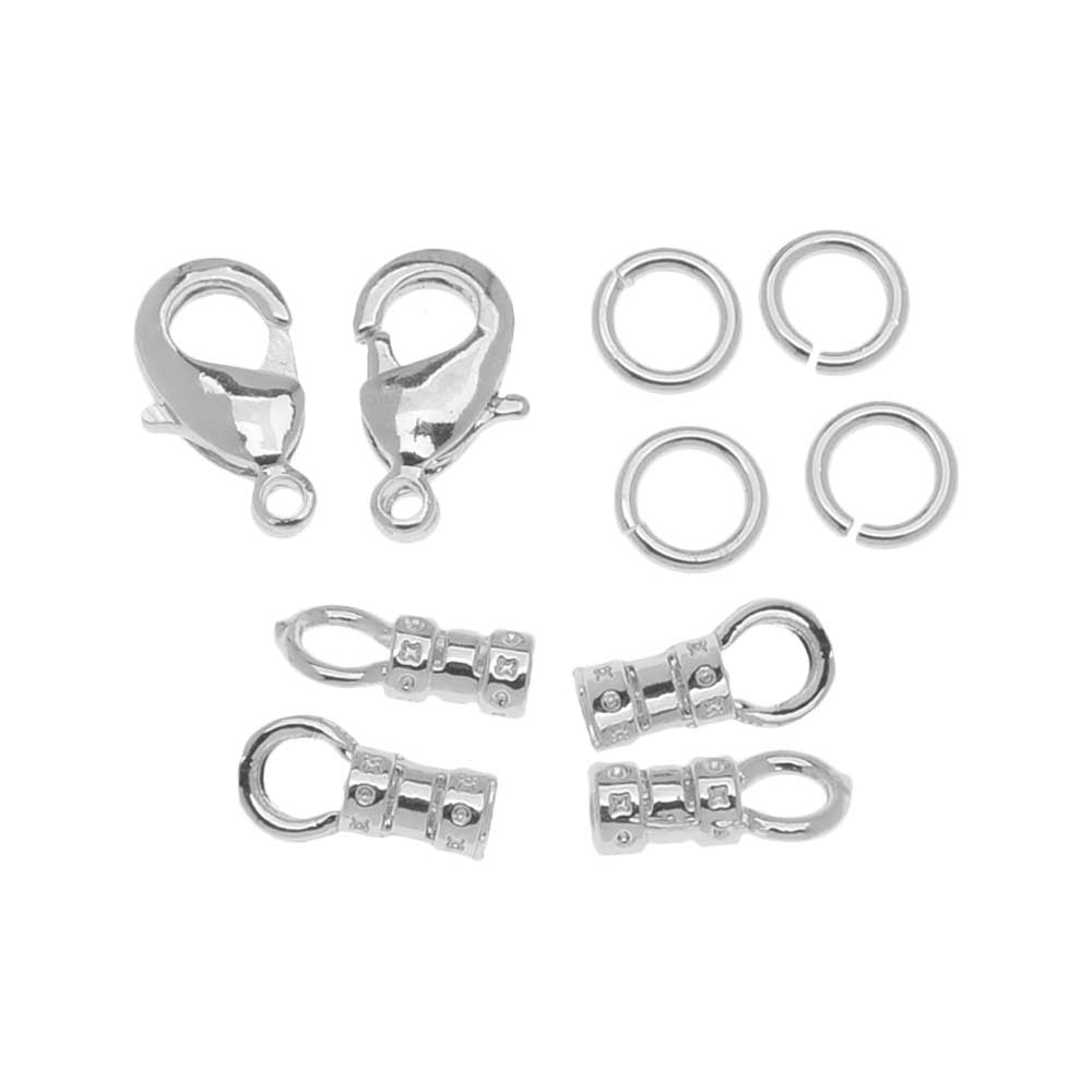 Beadalon Clasp Set, Lobster Clasp / Open Jump Ring / Loop Crimp fits 2mm Cord, 2 Sets, Silver Tone