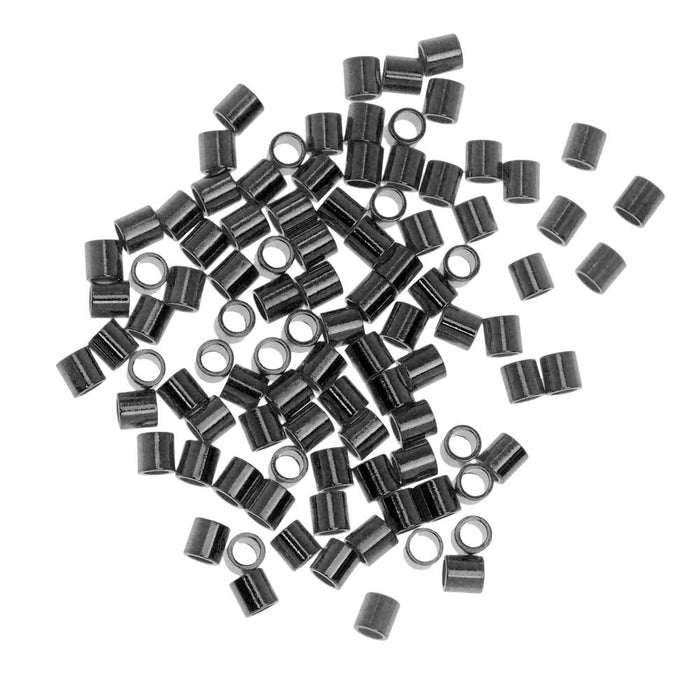 Crimp Beads, Tube 2x2mm, 100 Pieces, Gunmetal Plated