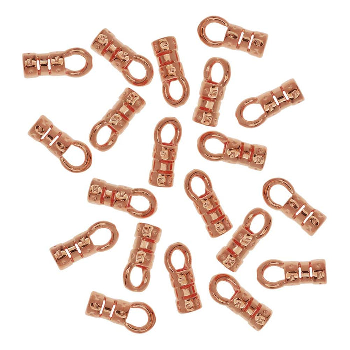 Cord Ends, Fancy Crimp Style with Loop, Fits 2mm Cord, 20 Pieces, Copper Plated