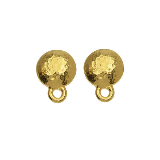 Earring Post, Hammertone Round 9mm, Bright Gold, 1 Pair, by TierraCast