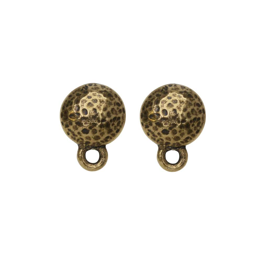 Earring Post, Hammertone Round 9mm, Brass Oxide Finish, 1 Pair, by TierraCast