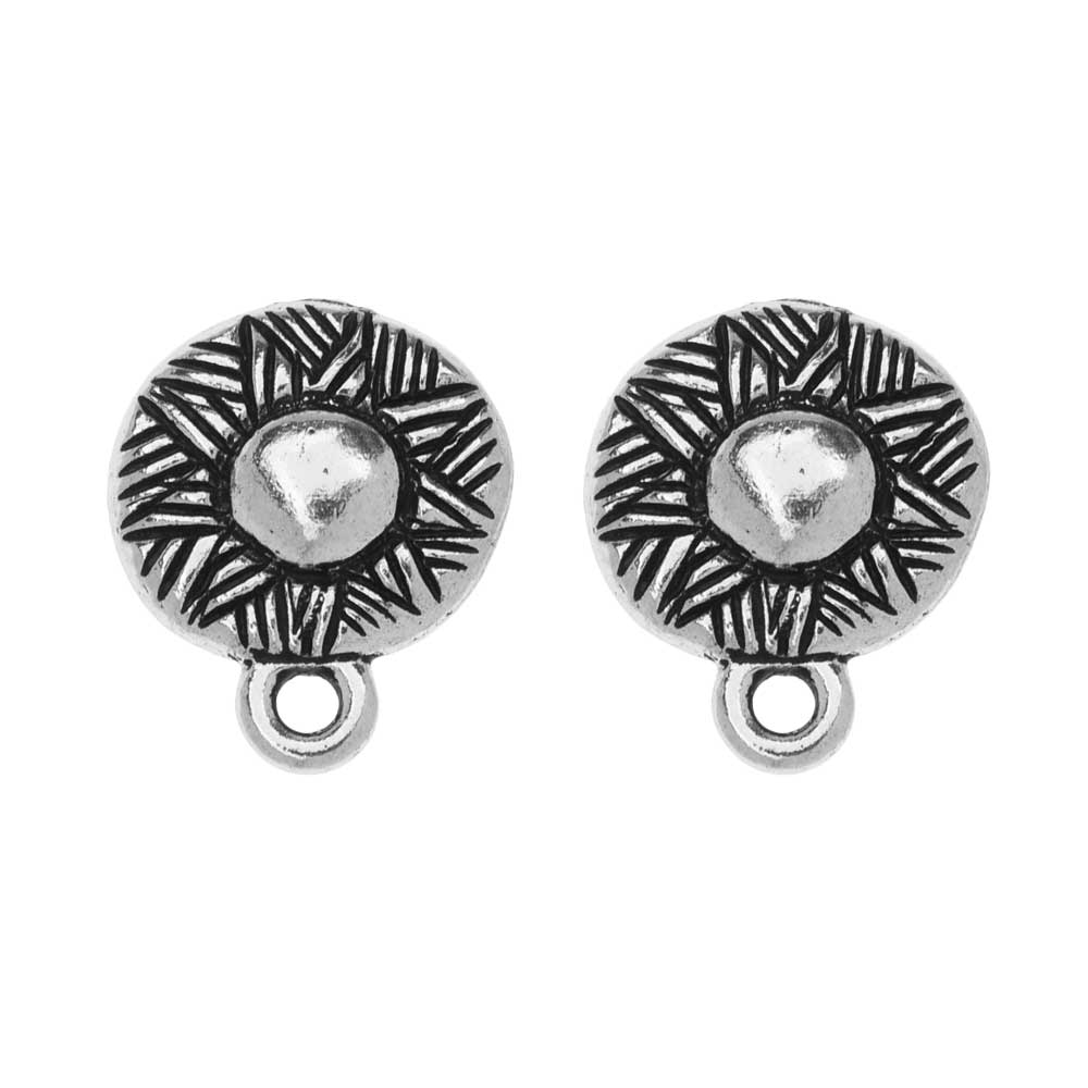 TierraCast Pewter Earring Post, Ethnic Design with Ring 14.5x12mm, 1 Pair, Antiqued Silver Plated