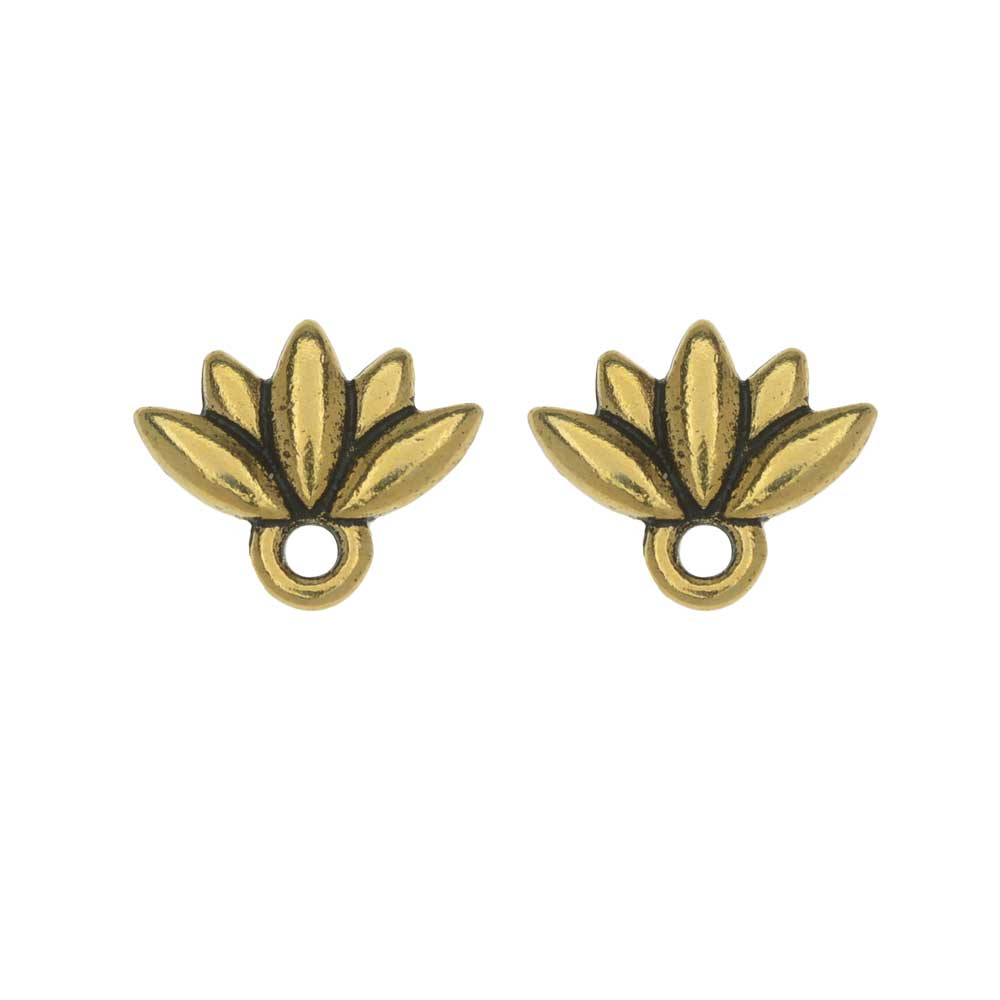 TierraCast Pewter Earring Post, Lotus Flower with Ring 9.5x11.5mm, 1 Pair, Antiqued Gold Plated