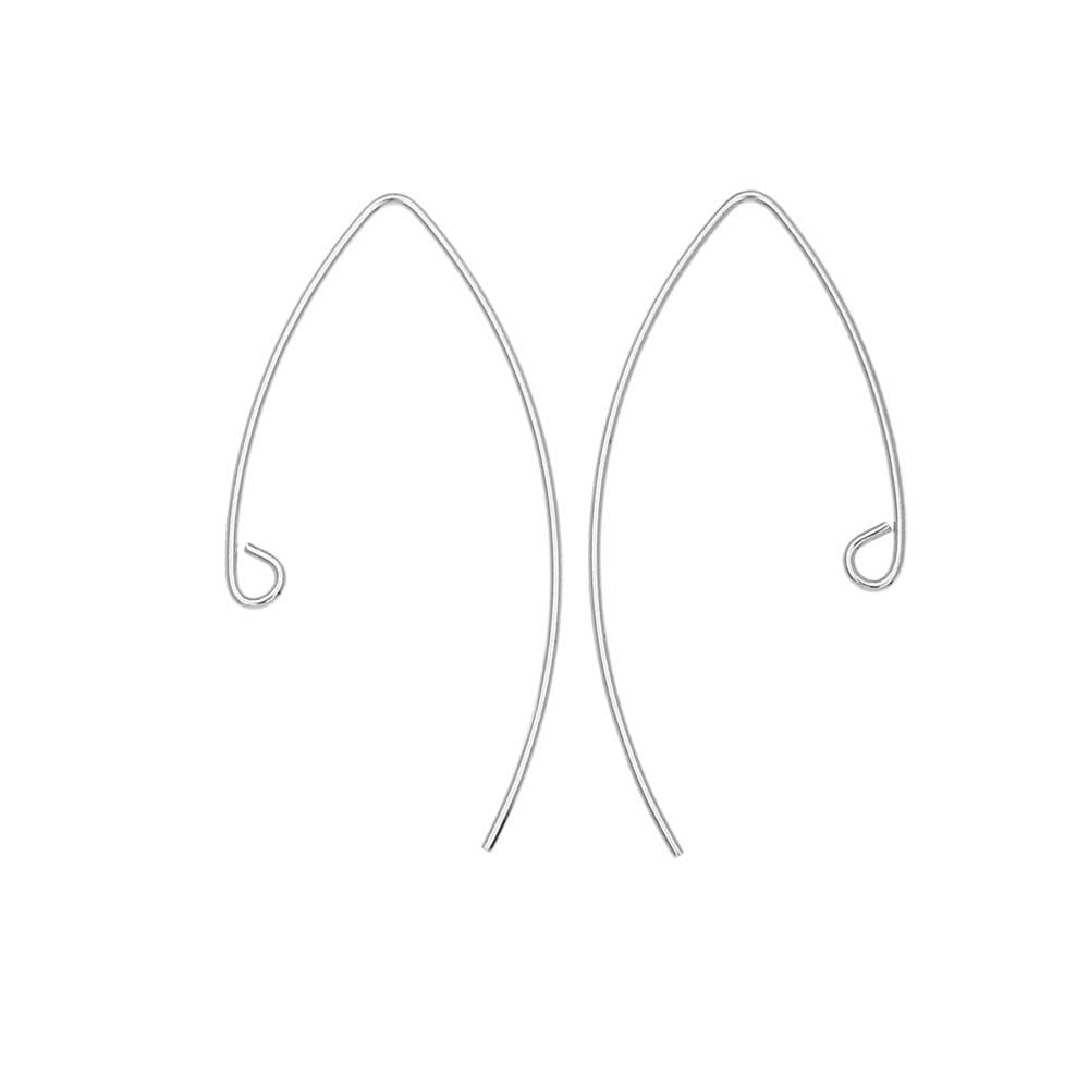 V-Shaped French Ear Wire, with Loop 36x17.5mm, 4 Pieces, Sterling Silver