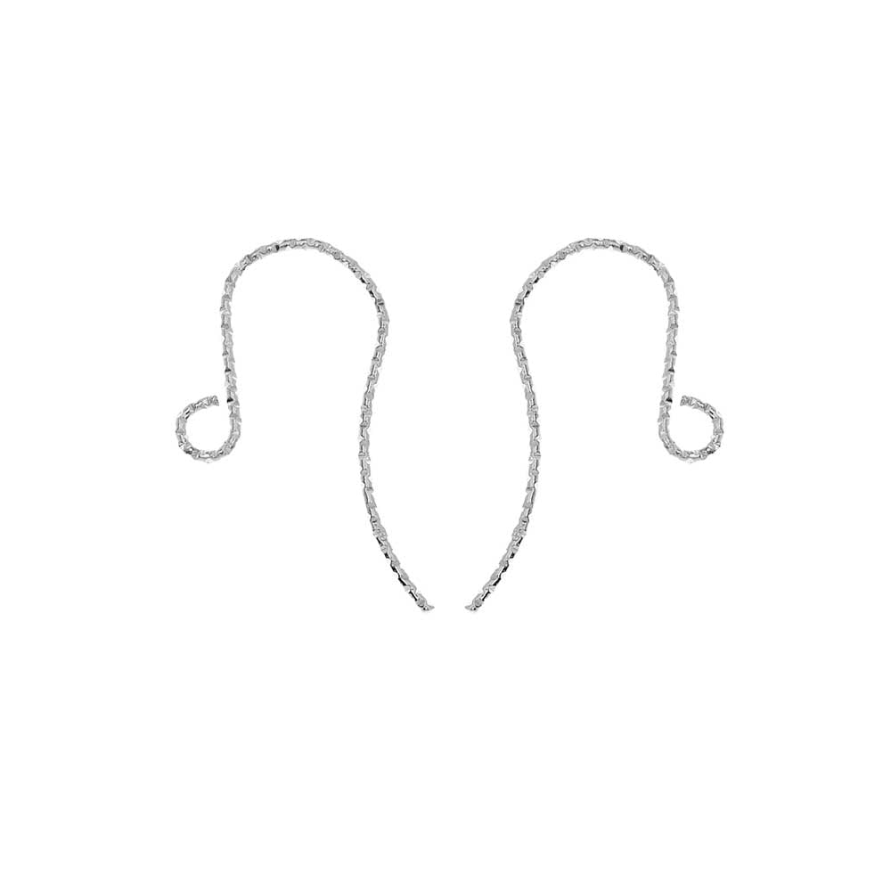 French Sparkle Ear Wire, with Loop End 21mm Long, 4 Pieces, Sterling Silver