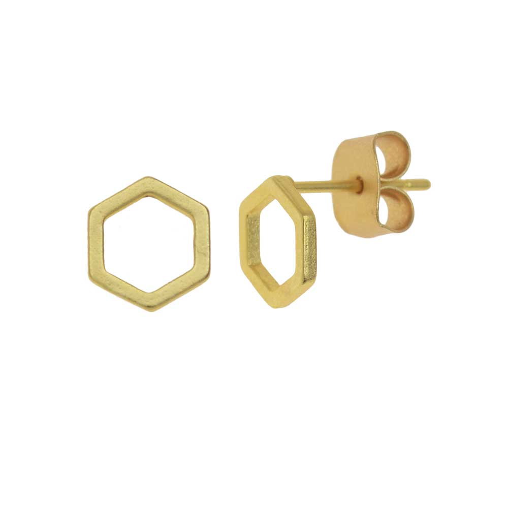 Earring Posts, Open Hexagon with Earnuts 7mm, 1 Pair, Matte Gold Toned