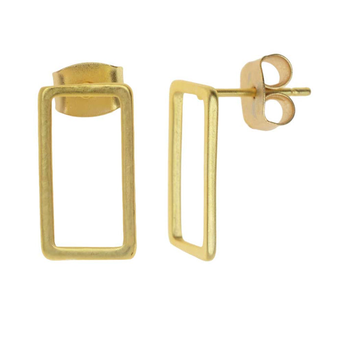 Earring Posts, Open Rectangle with Earnuts 8x15mm, 1 Pair, Matte Gold Toned