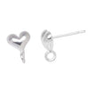 Silver Plated Stud Earring Posts Heart With Loop 6mm (5 Pairs)
