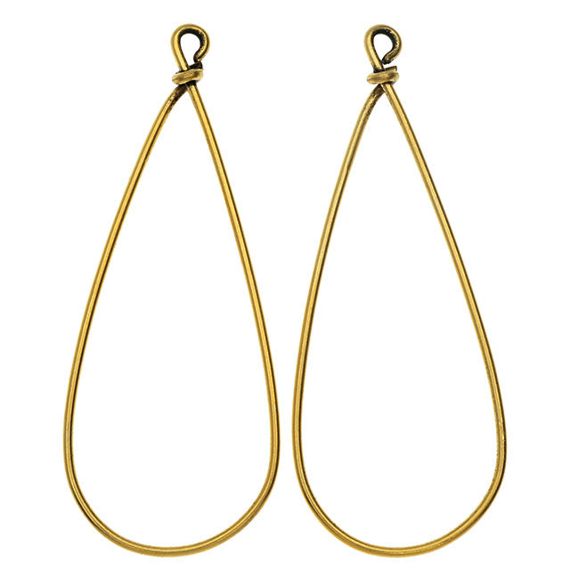 Nunn Design Wire Frame, Pear Drop 19.5x50.5mm, 2 Pieces, Antiqued Gold Plated