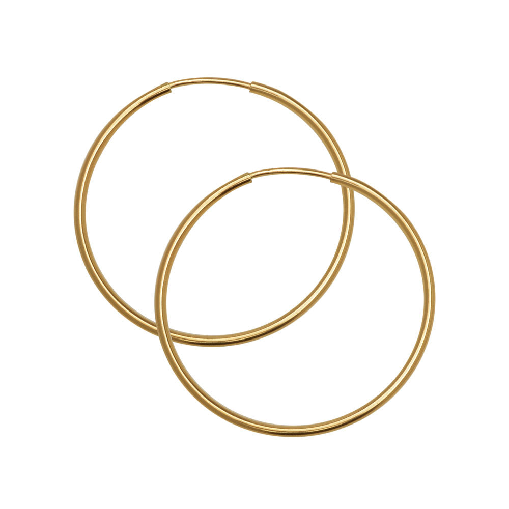 Endless Hoop Earring Component, w/ Hinged Wire 30mm Diameter and 1.25mm Thick, 2 pc, 14K Gold Filled