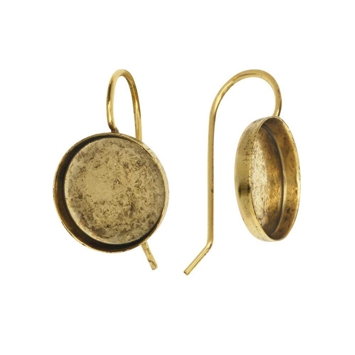 Earring Wire, Circle Bezel 12mm, Antiqued Gold, 1 Pair, by Nunn Design