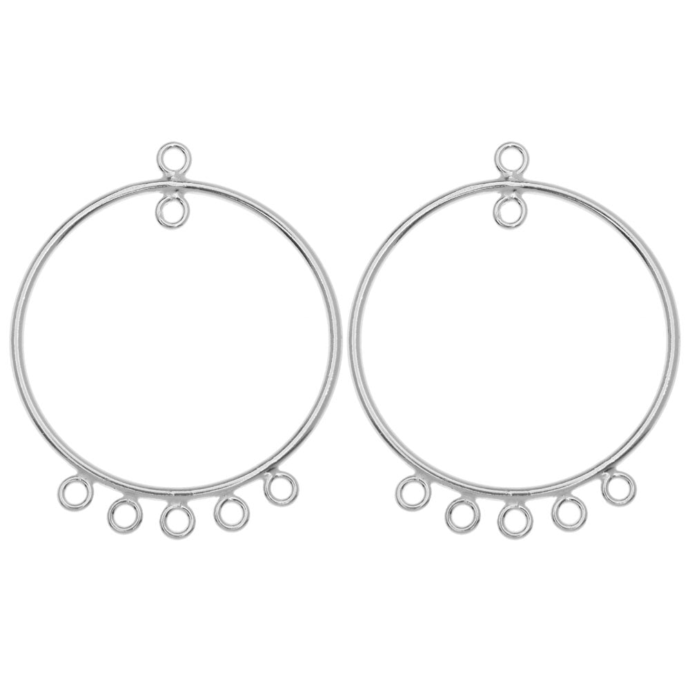 Round Chandelier Earring Components, with Five Rings 33mm, 2 Pieces, Sterling Silver