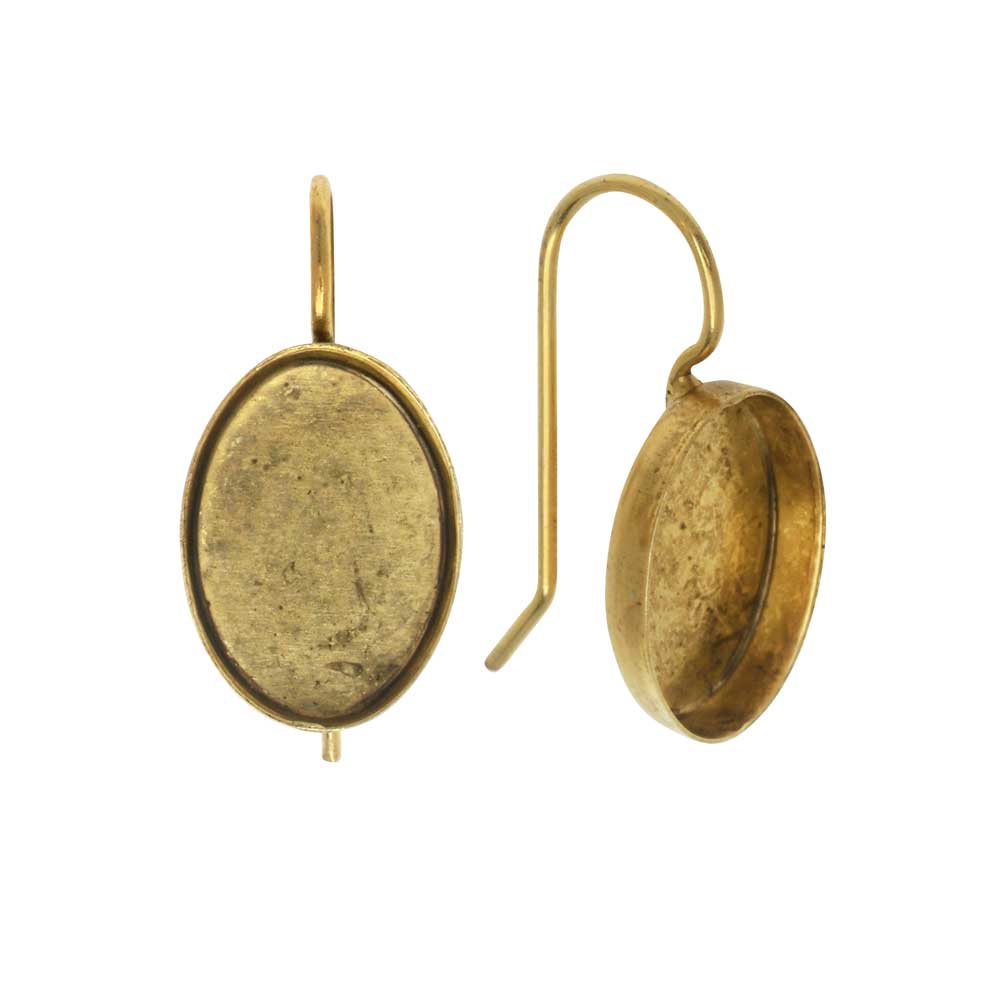 Earring Wire, Oval Bezel 14x10mm, Antiqued Gold, 1 Pair, by Nunn Design