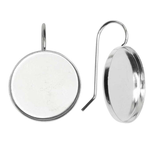 Earring Wire, Circle Bezel 18mm, Bright Silver, 1 Pair, by Nunn Design