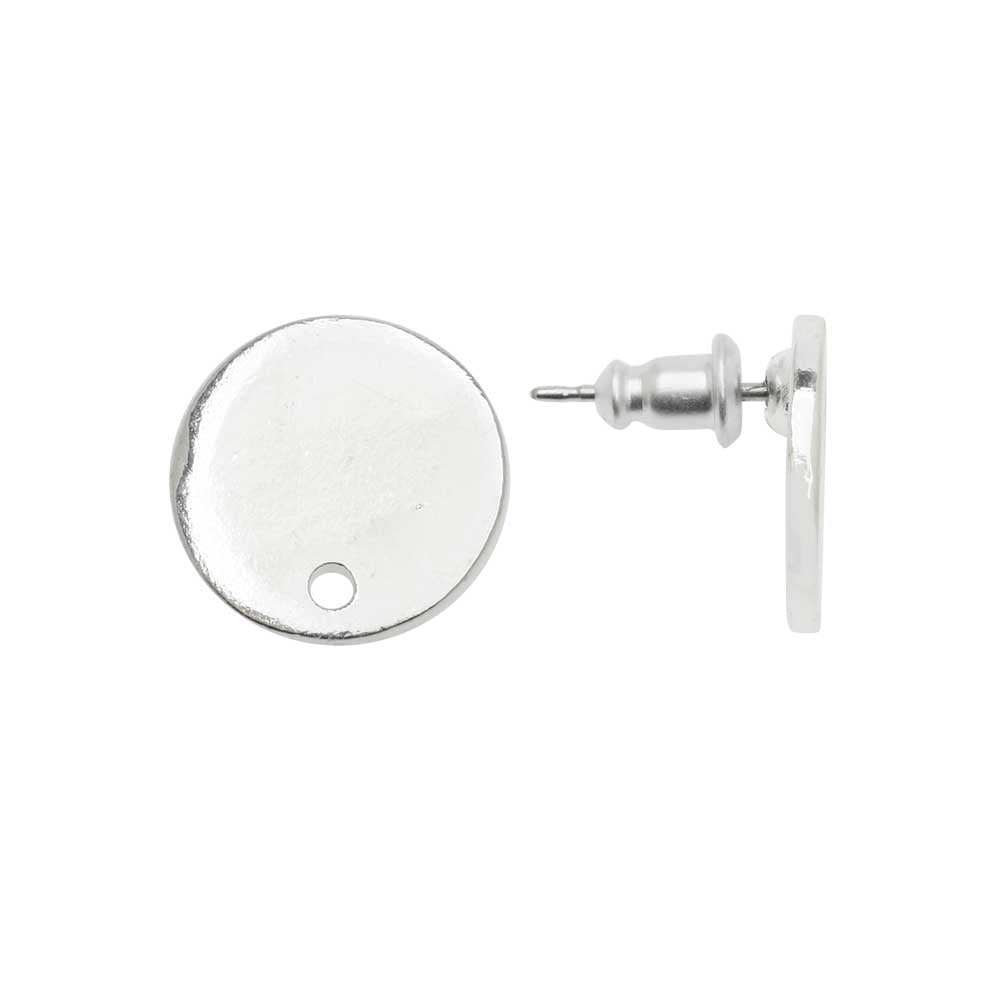 Earring Post, Flat Tag Mini Circle 12.5mm, Bright Silver, 1 Pair, by Nunn Design