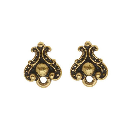 "TierraCast 22K Gold Plated Pewter Stud Post Earrings ""Duchess"" 10.7mm"