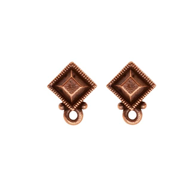 "TierraCast Copper Plated Pewter Stud Post Earrings ""Faceted Diamond"" (1 Pair)"